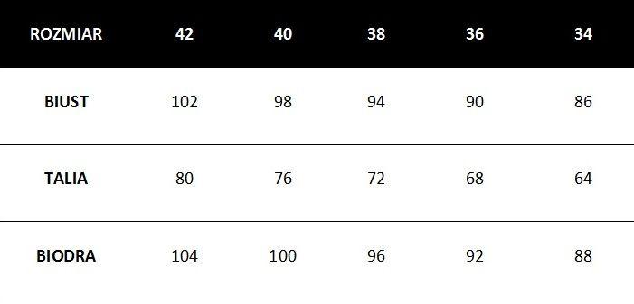 Damska tabela rozmiarów